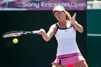 KEY BISCAYNE, FL - MARCH 23:  Coco Vandeweghe returns against Varvara Lepchenko during the Sony Ericsson Open at Crandon Park Tennis Center on March 23, 2011 in Key Biscayne, Florida.  (Photo by Matthew Stockman/Getty Images)
