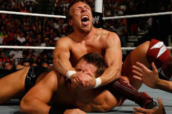Daniel Bryan locking in his finisher, The LeBell Lock