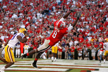 ATHENS, GA - OCTOBER 03: A.J. Green #8 of the Georgia Bulldogs fails to pull in a two-point conversion against Chris Hawkins #29 of the Louisiana State University Tigers at Sanford Stadium on October 3, 2009 in Athens, Georgia. (Photo by Kevin C. Cox/Gett