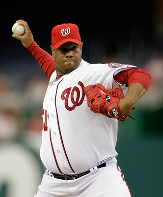 WASHINGTON, DC - APRIL 12: Pitcher Livan Hernandez #61 of the Washington Nationalsdelivers to a Philadelphia Phillies batter during the second inning at Nationals Park on April 12, 2011 in Washington, DC. (Photo by Rob Carr/Getty Images)