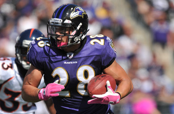BALTIMORE, MD - OCTOBER 10: Tom Zbikowski #28 of the Baltimore Ravens runs the ball against the Denver Broncos at M&T Bank Stadium on October 10, 2010 in Baltimore, Maryland. Players wore pink in recognition of Breast Cancer Awareness Month. The Ravens de
