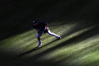 ARLINGTON, TX - OCTOBER 09:  Right fielder Matt Joyce #20 of the Tampa Bay Rays runs for a play against the Texas Rangers during game 3 of the ALDS at Rangers Ballpark in Arlington on October 9, 2010 in Arlington, Texas.  (Photo by Ronald Martinez/Getty I