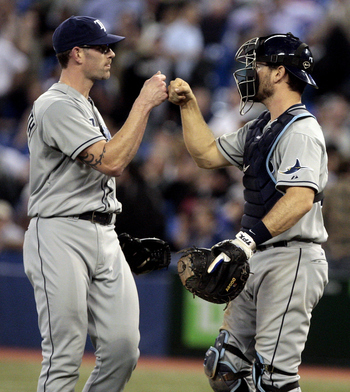 TORONTO, CANADA - MAY 18: Kyle Farnsworth #43 and John Jaso #28 of the Tampa Bay Rays celebrate win against the Toronto Blue Jays during MLB action at the Rogers Centre May 18, 2011 in Toronto, Ontario, Canada. (Photo by Abelimages/Getty Images)