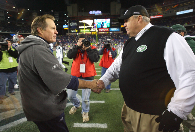 FOXBORO, MA - NOVEMBER 22:  Bill Belichick of the New England Patriots shakes hands with Rex Ryan of the New York on November 22, 2009 in Foxboro, Massachusetts. The Patriots won 31-14. (Photo by Jim Rogash/Getty Images)