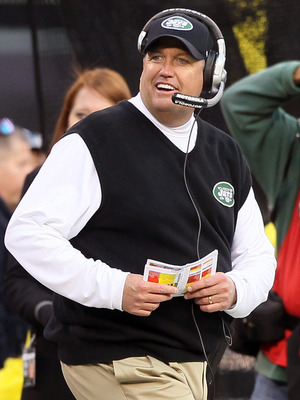 EAST RUTHERFORD, NJ - NOVEMBER 21: Head coach Rex Ryan of the New York Jets looks on against  the Houston Texans on November 21, 2010 at the New Meadowlands Stadium in East Rutherford, New Jersey.  (Photo by Jim McIsaac/Getty Images)