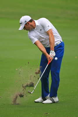 FT. WORTH, TX - MAY 19: Sergio Garcia of Spain hits his second shot on the ninth hole during the first round of the Crowne Plaza Invitational at Colonial Country Club on May 19, 2011 in Ft. Worth, Texas. (Photo by Hunter Martin/Getty Images)