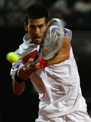 ROME, ITALY - MAY 15:  Novak Djokovic of Serbia in action during the final against Rafael Nadal of Spain during day eight of the Internazoinali BNL D'Italia at the Foro Italico Tennis Centre on May 15, 2011 in Rome, Italy.  (Photo by Clive Brunskill/Getty