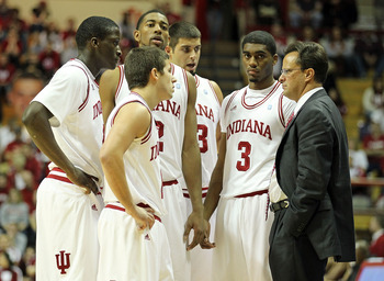 BLOOMINGTON, IN - NOVEMBER 23:  Tom Crean the Head Coach of the Indiana Hoosiers gives instructions to his team during the game against the North Carolina Central Eagles at Assembly Hall on November 23, 2010 in Bloomington, Indiana.  Indiana won 72-56.  (