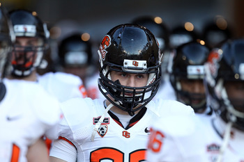 PALO ALTO, CA - NOVEMBER 27:  Will Darkins #33 of the Oregon State Beavers walks on to the field for their game against the Stanford Cardinal at Stanford Stadium on November 27, 2010 in Palo Alto, California.  (Photo by Ezra Shaw/Getty Images)