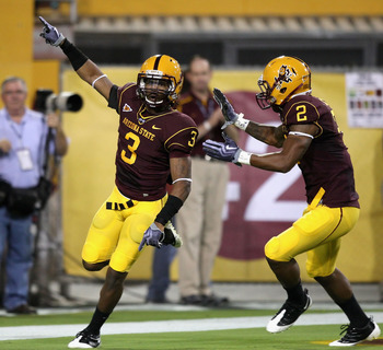 TEMPE, AZ - SEPTEMBER 19:  Omar Bolden #3 of the Arizona State Sun Devils celebrates after a 59 yard touchdown on a kick off return against the Louisiana Monroe Warhawks during the college football game at Sun Devil Stadium on September 19, 2008 in Tempe,