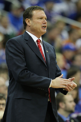KANSAS CITY, MO - MARCH 12:  Head coach Bill Self of the Kansas Jayhawks looks on against the Texas Longhorns during the 2011 Phillips 66 Big 12 Men's Basketball Tournament championship game at Sprint Center on March 12, 2011 in Kansas City, Missouri.  (P