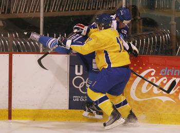 Landeskog punishing an opposition player at the World Juniors