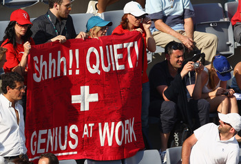 ROME, ITALY - MAY 12:  Swiss  Roger Federer fans display a banner during his third round match against Richard Gasquet of France during day five of the Internazoinali BNL D'Italia at the Foro Italico Tennis Centre on May 12, 2011 in Rome, Italy.  (Photo b