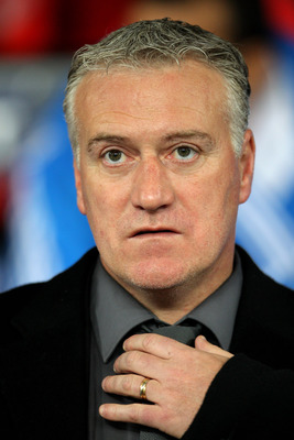 MANCHESTER, ENGLAND - MARCH 15:  Didier Deschamps coach of Marseille looks on ahead of the UEFA Champions League round of 16 second leg match between Manchester United and Marseille at Old Trafford on March 15, 2011 in Manchester, England.  (Photo by Alex