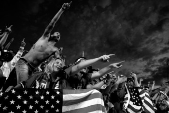 SANDY, UT - SEPTEMBER 05:  (ATTENTION EDITORS: PHOTO CONVERTED TO BLACK AND WHITE) United States fans celebrate during the FIFA 2010 World Cup Qualifier match between the United States and El Salvador at Rio Tinto Stadium on September 5, 2009 in Sandy, Ut