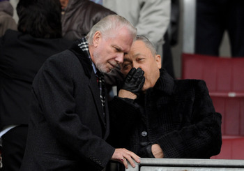WIGAN, ENGLAND - MAY 15: West Ham United Joint Chairmen David Sullivan and David Gold (L) chat prior to the Barclays Premier League match between Wigan Athletic and West Ham United at the DW Stadium on May 15, 2011 in Wigan, England. (Photo by Chris Bruns