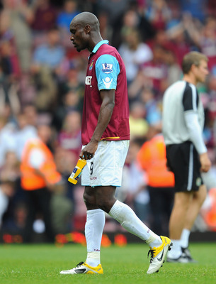 LONDON, ENGLAND - MAY 07:  Carlton Cole of West Ham United looks dejected during the Barclays Premier League match between West Ham United and Blackburn Rovers at the Boleyn Ground on May 7, 2011 in London, England.  (Photo by Mike Hewitt/Getty Images)