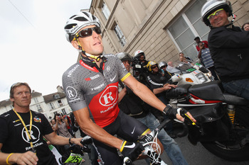 PARIS - JULY 25:  Lance Armstrong of team Radioshack rides during the twentieth and final stage of Le Tour de France 2010, from Longjumeau to the Champs-Elysees in Paris on July 25, 2010 in Paris, France.  (Photo by Bryn Lennon/Getty Images)