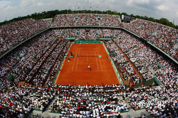 PARIS - JUNE 06:  A general vire of Philippe Chatrier court during the men's singles final match between Robin Soderling of Sweden and Rafael Nadal of Spain on day fifteen of the French Open at Roland Garros on June 6, 2010 in Paris, France.  (Photo by Cl