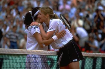 Jun 1996:  Steffi Graf of Germany (right) embraces Arantxa Sanchez-Vicario of Spain after Grafs victory in the final of the French Open at the Roland Garros Stadium, Paris. \ Mandatory Credit: Gary M Prior /Allsport