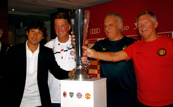 MUNICH, GERMANY - JULY 28:  Head coach of AC Milan Leonardo, head coach of Bayern Louis van Gaal, head coach of Boca Juniors Alfio Basile and head coach of Manchester United Sir Alex Ferguson attend the press conference during the Audi Cup 2009 at the Wes