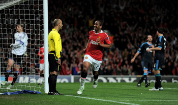 MANCHESTER, ENGLAND - MAY 04:  Anderson of Manchester United celebrates scoring his team's fourth goal during the UEFA Champions League Semi Final second leg match between Manchester United and Schalke at Old Trafford on May 4, 2011 in Manchester, England