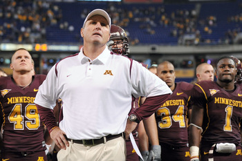 MINNEAPOLIS - NOVEMBER 01:  Head Coach Tim Brewster of the Minnesota Golden Gophers and his players react to a 24-17 loss to the Northwestern Wildcats during the fourth quarter at the Hubert H.Humphrey Metrodome on November 1, 2008 in Minneapolis, Minneso