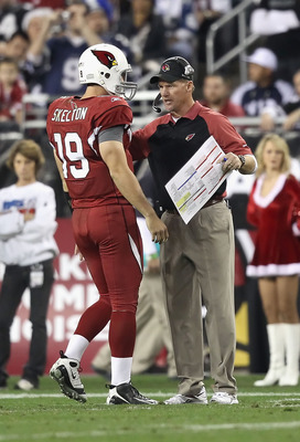GLENDALE, AZ - DECEMBER 25:  Head coach Ken Whisenhunt of the Arizona Cardinals talks with quarterback John Skelton #19 during the NFL game against the Dallas Cowboys at the University of Phoenix Stadium on December 25, 2010 in Glendale, Arizona. The Card
