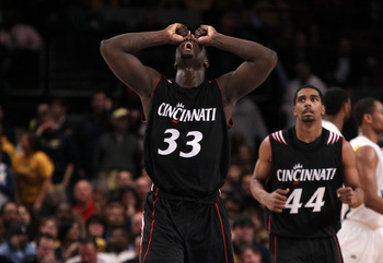 NEW YORK - MARCH 11: Lance Stephenson #33 of the Cincinnati Bearcats reacts after a turnover with less than ten seconds in the game against the West Virginia Mountaineers during the quarterfinal of the 2010 NCAA Big East Tournament at Madison Square Garde