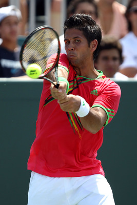 KEY BISCAYNE, FL - MARCH 25:  Fernando Verdasco of Spain returns against Pablo Andujar of Spain during the Sony Ericsson Open at Crandon Park Tennis Center on March 25, 2011 in Key Biscayne, Florida.  (Photo by Clive Brunskill/Getty Images)
