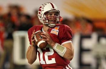 MIAMI, FL - JANUARY 03: Andrew Luck #12 of the Stanford Cardinal warm ups against the Virginia Tech Hokies during the 2011 Discover Orange Bowl at Sun Life Stadium on January 3, 2011 in Miami, Florida. (Photo by Streeter Lecka/Getty Images)