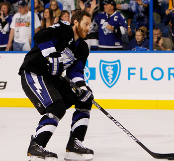 TAMPA, FL - MAY 19:  Eric Brewer #2 of the Tampa Bay Lightning warms up prior to Game Three of the Eastern Conference Finals against the Boston Bruins during the 2011 NHL Stanley Cup Playoffs at St Pete Times Forum on May 19, 2011 in Tampa, Florida.  (Pho