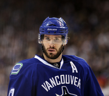 VANCOUVER, CANADA - MAY 18:  Ryan Kesler #17 of the Vancouver Canucks looks on during a break in Game Two of the Western Conference Finals against the San Jose Sharks during the 2011 Stanley Cup Playoffs at Rogers Arena on May 18, 2011 in Vancouver, Briti