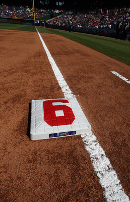 ATLANTA - OCTOBER 2: First base is adorned with the uniform number 6 of retiring Manager Bobby Cox for the Atlanta Braves before the game against the Philadelphia Phillies at Turner Field on October 2, 2010 in Atlanta, Georgia.  (Photo by Scott Cunningham