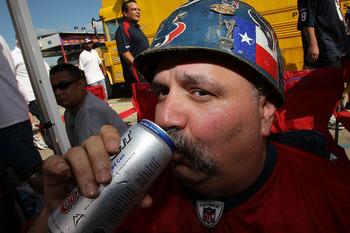 HOUSTON - SEPTEMBER 12:  Greg Duncan of Houston, TX sips on a beer while tailgating before the NFL season opener game between the Indianapolis Colts and Houston Texans at Reliant Stadium on September 12, 2010 in Houston, Texas.  (Photo by Ronald Martinez/