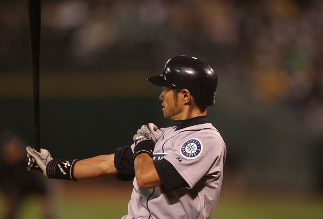 OAKLAND, CA - APRIL 01:  Ichiro Suzuki #51 of the Seattle Mariners bats against the Oakland Athletics during an opening day game of Major League Baseball at the Oakland-Alameda County Coliseum on April 1, 2011 in Oakland, California.  (Photo by Jed Jacobs