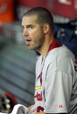 PHOENIX - JUNE 13:  Starting pitcher Chris Carpenter #29 of the St. Louis Cardinals in the dugout during the Major League Baseball game against the Arizona Diamondbacks at Chase Field on June 13, 2010 in Phoenix, Arizona.  The Diamondbacks defeated the Ca