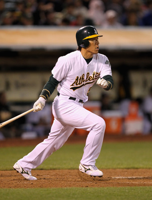 OAKLAND, CA - MAY 18:  Hideki Matsui #55 of the Oakland Athletics hits a single to score Daric Barton #10 of the Oakland Athletics to tie the score 3-3 in the sixth inning against the Minnesota Twins at Oakland-Alameda County Coliseum on May 18, 2011 in O
