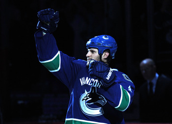 VANCOUVER, CANADA - MAY 18:  Kevin Bieksa #3 of the Vancouver Canucks acknowledges the fans after Game Two of the Western Conference Finals against the San Jose Sharks during the 2011 Stanley Cup Playoffs at Rogers Arena on May 18, 2011 in Vancouver, Brit