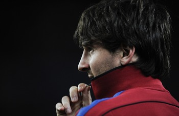 BARCELONA, SPAIN - MAY 15:  Lionel Messi of FC Barcelona looks on after the La Liga match between Barcelona and Deportivo La Coruna at Camp Nou Stadium on May 15, 2011 in Barcelona, Spain.  (Photo by David Ramos/Getty Images)