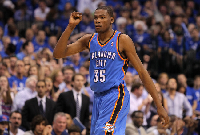 DALLAS, TX - MAY 19:  Kevin Durant #35 of the Oklahoma City Thunder reacts in the fourth quarter while taking on the Dallas Mavericks in Game Two of the Western Conference Finals during the 2011 NBA Playoffs at American Airlines Center on May 19, 2011 in