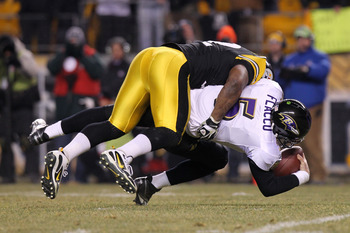 James Harrison with one of his three sacks on Joe Flacco in the AFC Divisional Round