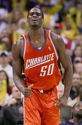 LOS ANGELES - JANUARY 30:  Emeka Okafur #50 of the Charlotte Bobcats reacts to a foul call during the game agianst the Los Angeles Lakers on January 30, 2005 at Staples Center in Los Angeles, California. NOTE TO USER: User expressly acknowledges and agree