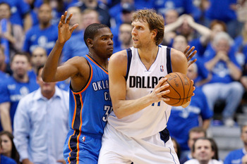 DALLAS, TX - MAY 19:  Dirk Nowitzki #41 of the Dallas Mavericks posts up Kevin Durant #35 of the Oklahoma City Thunder in the second half in Game Two of the Western Conference Finals during the 2011 NBA Playoffs at American Airlines Center on May 19, 2011