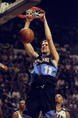 25 Apr 1998: Center Zydrunas Ilgauskas of the Cleveland Cavaliers in action against the Indiana Pacers during an NBA playoff game at the Market Square Arena in Indianapolis, Indiana. The Pacers defeated the Cavaliers 92-86.