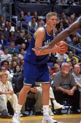 7 Nov 1999:  Dirk Nowitzki #41 of the Dallas Mavericks stands with the ball during the game against the Los Angeles Lakers at the Staples Center in Los Angeles, California. The Lakers defeated the Mavericks 105-97.   Mandatory Credit: Donald Miralle  /All