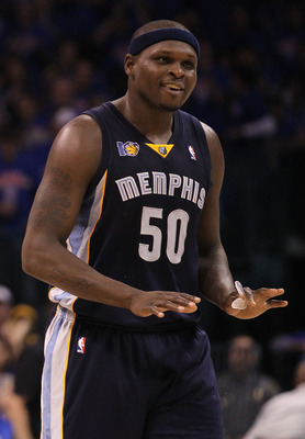 OKLAHOMA CITY, OK - MAY 15:  Forward Zach Randolph #50 of the Memphis Grizzlies reacts against the Oklahoma City Thunder in Game Seven of the Western Conference Semifinals in the 2011 NBA Playoffs on May 15, 2011 at Oklahoma City Arena in Oklahoma City, O