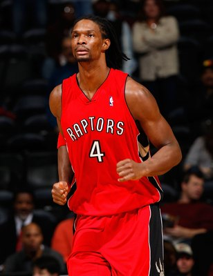ATLANTA - DECEMBER 02:  Chris Bosh #4 of the Toronto Raptors against the Atlanta Hawks at Philips Arena on December 2, 2009 in Atlanta, Georgia.  NOTE TO USER: User expressly acknowledges and agrees that, by downloading and/or using this Photograph, User