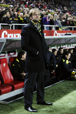 SEVILLE, SPAIN - DECEMBER 15:  Head coach Jurgen Klopp of Borussia Dortmund looks on prior the UEFA Europa League group J match between Sevilla and Borussia Dortmund at Estadio Ramon Sanchez Pizjuan on December 15, 2010 in Seville, Spain. The match ended