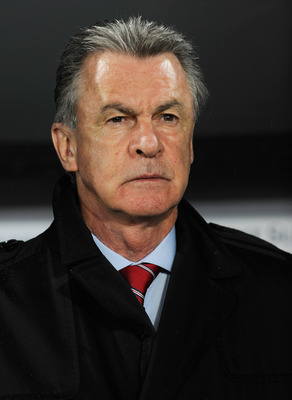 BASEL, SWITZERLAND - SEPTEMBER 07:  Switzerland manager Ottmar Hitzfeld looks on before the UEFA EURO 2012 Group G qualifier between Switzerland and England at St Jakob Park on September 7, 2010 in Basel, Switzerland.  (Photo by Michael Regan/Getty Images